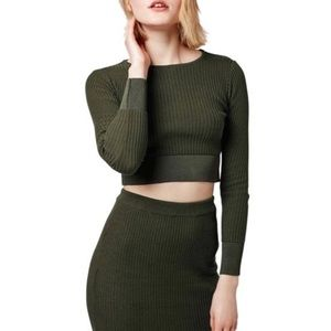 Topshop Army Green Long Sleeve Crop Top Small NEW